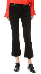 Rag And Bone Velvet Cropped Flare Jeans Black Velvet