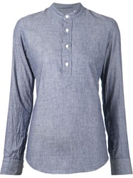 Salvatore Piccolo Mandarin Collar Striped Shirt Blue