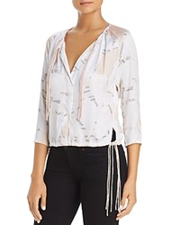 Kenneth Cole Floating Shapes Tripe Tie Blouse Floating Shapes White