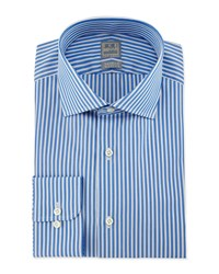 Ike Behar Bold Stripe Woven Dress Shirt Blue