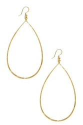 Charlene K 14K Gold Vermeil Hammered Teardrop Hoop Earrings Metallic
