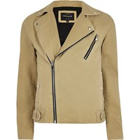River Island Menslight Brown Biker Jacket