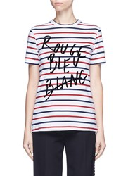 Etre Cecile 'Rouge Bleu Blanc' Flocked Slogan Breton Stripe T Shirt Multi Colour