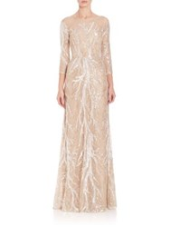 David Meister Three Quarter Sleeve Embroidered Sequin Gown Nude Silver
