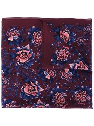 Burberry Floral Print Scarf Pink Purple