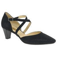 Gabor Frederica Cross Strap Court Shoes Black