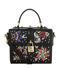 Dolce And Gabbana Mini Embellished Grained Leather Shoulder Bag Female Black
