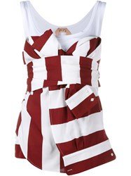 No21 Sleeveless Striped And Knotted Top Red