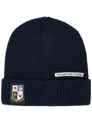 Kent And Curwen Patch Detail Beanie Wool Blue