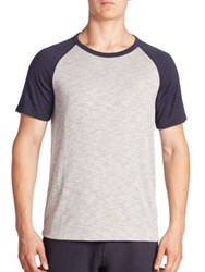 Theory Raglan Sleeve Baseball Tee Grey