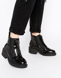 Truffle Collection Cori Front Zip Chunky Ankle Boots Blackhighshinepu