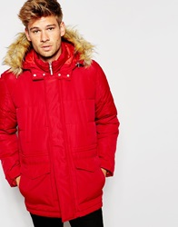 Asos Quilted Fishtail Parka With Faux Fur Hood In Red