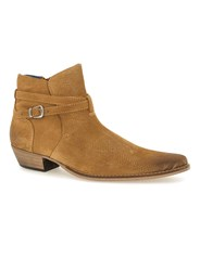 Topman Brown Tan Suede Buckle Boots