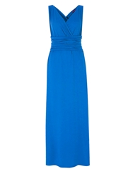 Hotsquash V Neck Maxi Dress In Coolfresh Fabric Cobalt