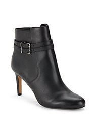 Vince Camuto Side Zipper Leather Ankle Boots Black