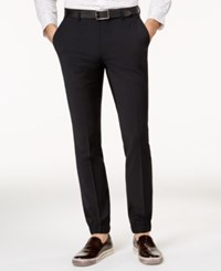 Bar Iii Men's Extra Slim Fit Stretch Wrinkle Resistant Black Jogger Pants Created For Macy's