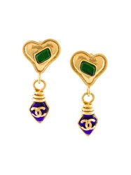 Chanel Vintage Gripoix Heart Cc Logo Clip On Earrings Metallic