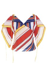 Alexis Mabille Bayadere Striped Handkerchief Top White Blue Red