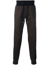 Versace Contrast Band Track Trousers Brown