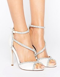 Asos Hibiscus Bridal Embellished Heeled Sandals Ivory Cream