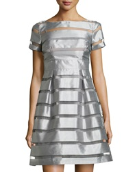 Muse Striped Fit And Flare Cocktail Dress Silver