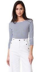 Seafarer Angel Boat Neck Tee White Avio Stripe