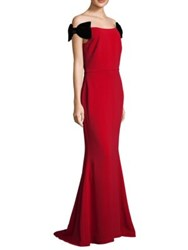 Alberto Makali Bow Shoulder Floor Length Gown Red