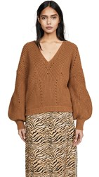 Free People All Day Long V Neck Sweater Sahara