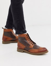 Base London Banner Brogue Boot In Two Tone Brown And Tan