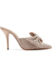 Alexandre Vauthier Kate Crystal And Bow Embellished Suede Mules Neutral Gbp