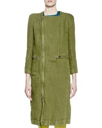 Haider Ackermann 3 4 Sleeve Canvas Side Zip Coat Olive Green Size 46