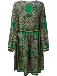 P.A.R.O.S.H. Flared Paisley Print Dress Green