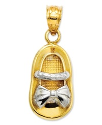 Macy's 14K Gold And Rhodium Charm Baby Girl Shoe Charm