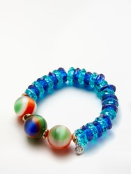 One Button Faceted Bead Stretch Bracelet Multi