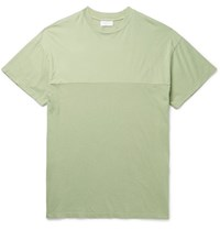 John Elliott Panelled Cotton Jersey T Shirt Light Green