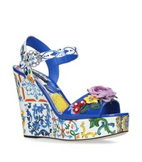 Dolce And Gabbana Floral Belucci Wedge Sandals 120 Ivory