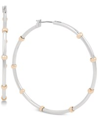 Touch Of Silver Two Tone Hoop Earrings In Rose Gold Plate And Plate Two Tone