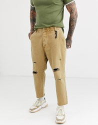 Bershka Carrot Loose Fit Jeans With Rips In Camel Beige
