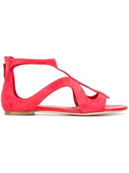 Alexander Mcqueen Strappy Sandals Leather Suede Red