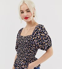 New Look Shell Top With Peplum In Ditsy Floral Print Black