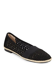 Adrienne Vittadini Maiden Laser Cut Leather Flats Black