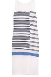 Lemlem Aziza Striped Cotton Blend Gauze Midi Dress Navy
