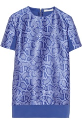 Richard Nicoll Python Jacquard And Stretch Jersey Top Blue