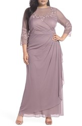 Alex Evenings Plus Size Embellished Illusion Sweetheart A Line Gown Rose