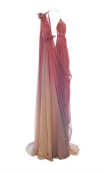 Marchesa Ombre Grecian Gown Pink Yellow Purple