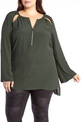 Addition Elle Love And Legend Bell Sleeve Tunic Plus Size Green