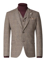 Gibson Men's Fawn Check With Blue Overcheck Jacket Taupe