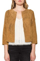 Willow And Clay Women's Crop Fringe Suede Jacket