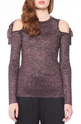 Willow And Clay Women's Metallic Cold Shoulder Top Orchid