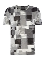 Sisley Men Square Print Crew Neck T Shirt Grey